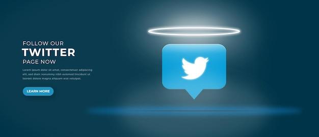 Ikona logo twittera z banerem efektu świetlnego 3d premium wektorów