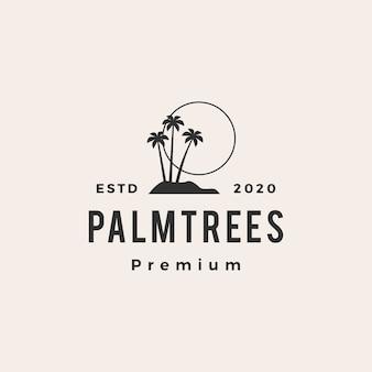 Ikona logo vintage hipster drzewo palmowe