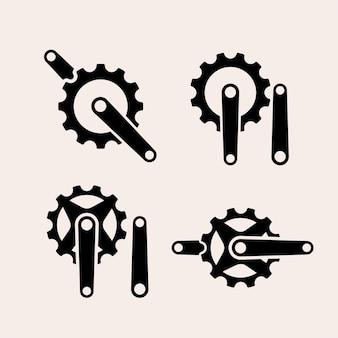 Ikona logo vintage mechaniczny zestaw