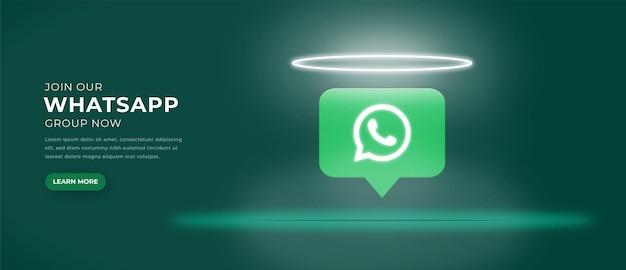 Ikona logo whatsapp z banerem efektu świetlnego 3d premium wektorów