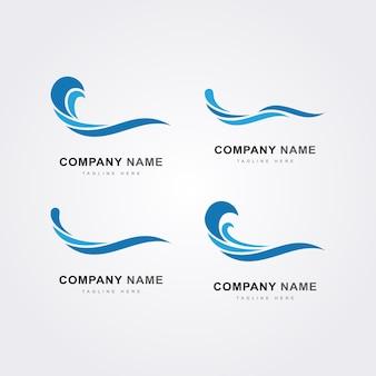 Ikona logo zestaw niebieskiej fali