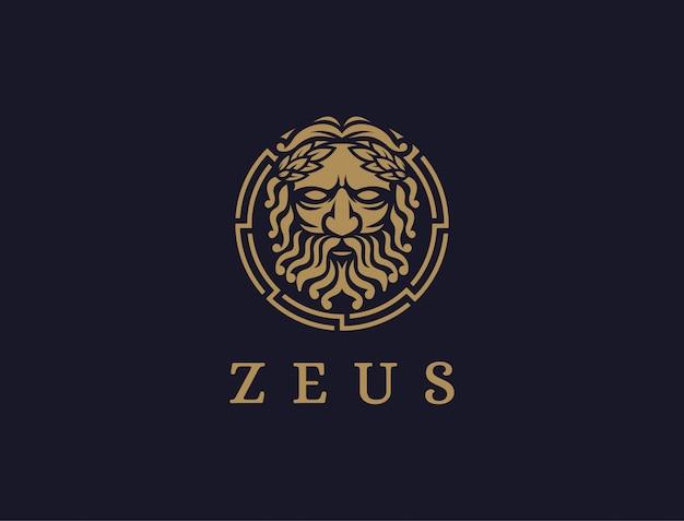 Ikona logo zeusa god na ciemnym tle, logo lopiter, logo jowisza