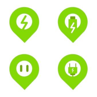 Ikona lokalizacji i energii elektrycznej jako koncepcja ikona lokalizacji stacji ładowania samochodów elektrycznych. ikona wektor