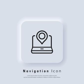 Ikona lokalizacji. ikona wskaźnika na laptopie. lokalizacja gps. ikony pinezki mapy. wektor eps 10. ikona interfejsu użytkownika. biały przycisk sieciowy interfejsu użytkownika neumorphic ui ux. neumorfizm