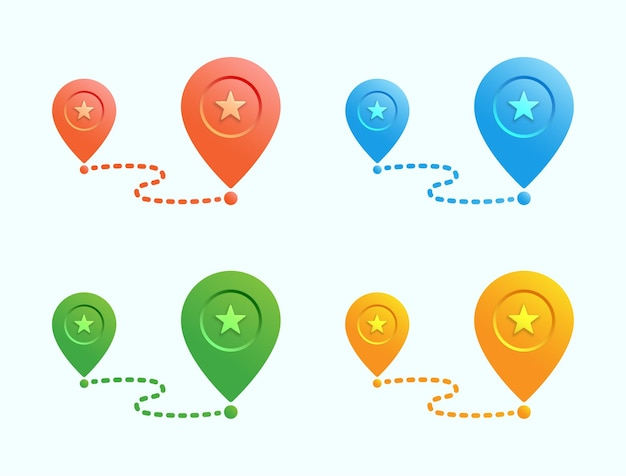 Ikona lokalizacji pinezki mapy kolorów