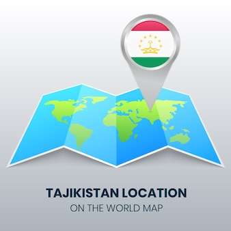 Ikona lokalizacji tadżykistanu na mapie świata, ikona okrągłej pinezki tadżykistanu