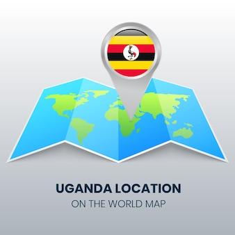 Ikona lokalizacji ugandy na mapie świata, okrągła ikona pinezki ugandy