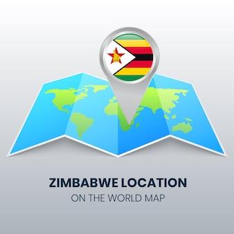 Ikona lokalizacji zimbabwe na mapie świata okrągła ikona pinezki zimbabwe