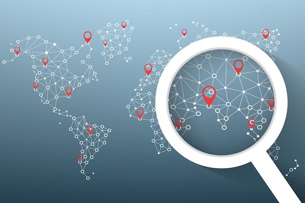 Ikona lupy wyszukiwanie lokalizacji na mapie świata
