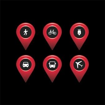 Ikona mapy podróży czerwony