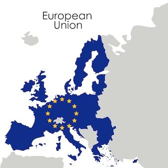 Ikona mapy unii europejskiej. europa, naród i rząd. kolorowy wzór. ilustracji wektorowych