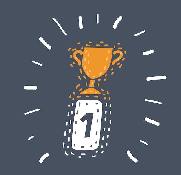 Ikona medalu zwycięzcy znaku pierwszego miejsca
