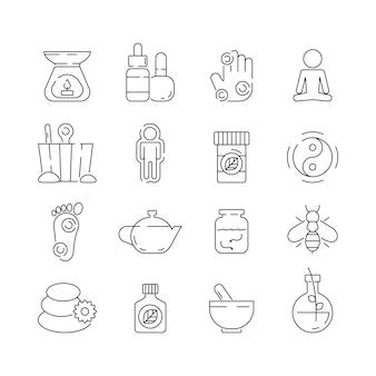 Ikona medycyny alternatywnej. piękno uzupełniające naturopath terapia ziołowa relaks medytacja wektor cienkie symbole