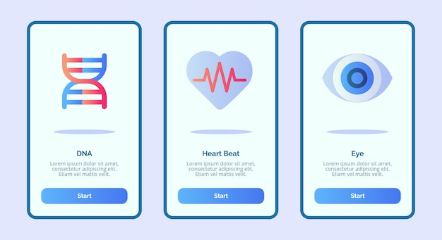 Ikona medyczna dna bicie serca oko dla aplikacji mobilnych szablon strony banera ui