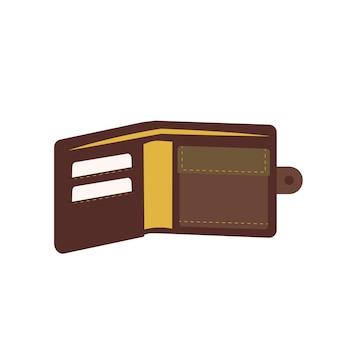 Ikona męskiego portfela na pieniądze i karty kredytowe modny przedmiot na pensję podróżną i zakupy