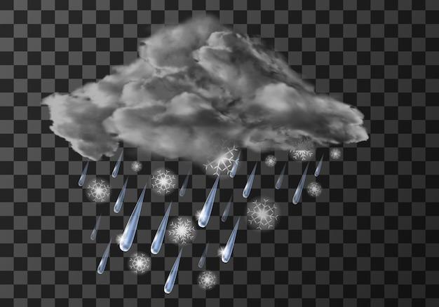 Ikona meteo pogody deszczowej, spadające krople wody na przezroczystym