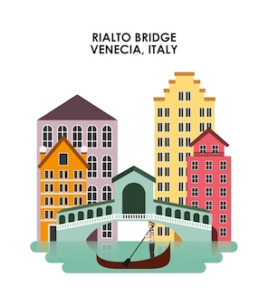 Ikona miasta venecia. projekt kultury włoskiej. grafika wektorowa