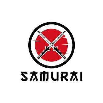 Ikona miecza samurajskiego z ilustracją projektu logo księżyca