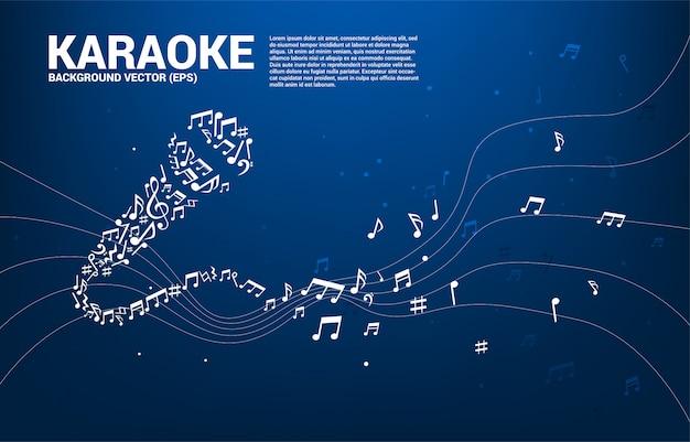 Ikona mikrofonu fali dźwiękowej z tańca melodii nuty.