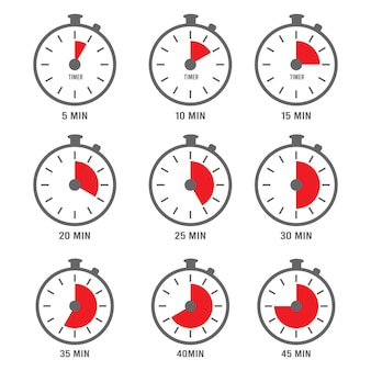 Ikona minut. symbole zegara godzin razy minuty liczby dzień pięć kolekcja.