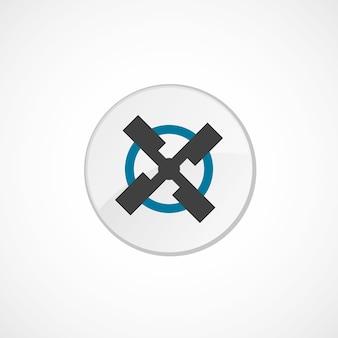 Ikona młyna 2 kolorowa, szara i niebieska, okrągła plakietka