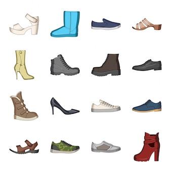 Ikona mody kreskówka zestaw butów. obuwie sklep na białym tle kreskówka zestaw ikon. modne buty.