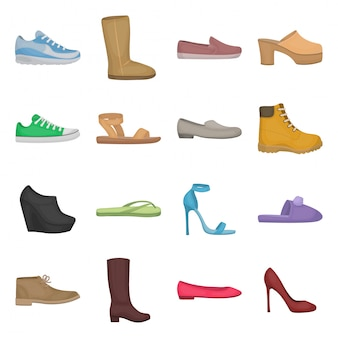 Ikona mody kreskówka zestaw butów