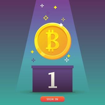 Ikona monety bitcoins. bitcoins - koncepcja wirtualnych pieniędzy. płaska, nowoczesna koncepcja technologii kryptowalut.