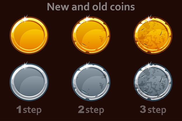 Ikona monety złote i srebrne monety. 3 kroki losowania monety od nowej do starej.