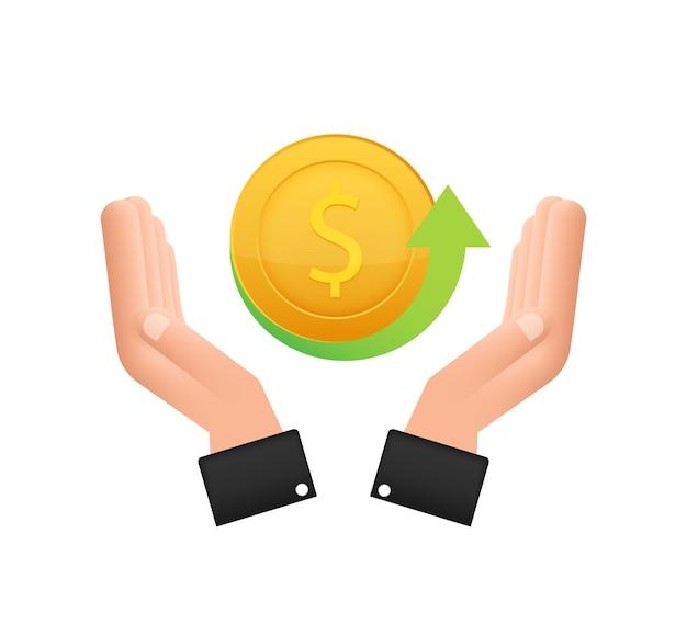 Ikona monety zwrotu pieniędzy z ręką na białym tle etykieta zwrotu gotówki lub zwrotu pieniędzy