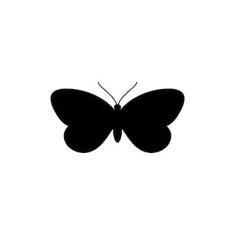Ikona motyl sylwetka w prostym modnym stylu. vector icon ilustracje insect moths do tworzenia logo salonów kosmetycznych, manicure, masaży, spa, biżuterii, tatuaży i ręcznie robionych artystów.