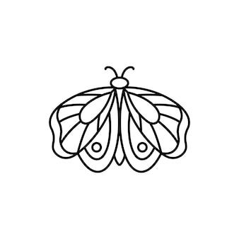 Ikona motyla w liniowym stylu minimal trend. wektor liniowe logo owadów dla salonów kosmetycznych, manicure, masażu, spa, tatuażu i ręcznie robionych mistrzów.