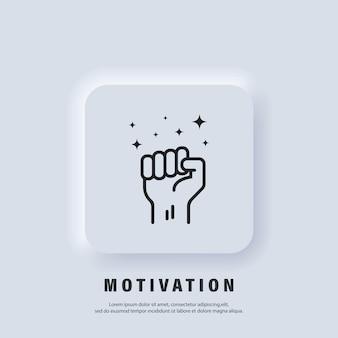 Ikona motywacji. pięść w górę. sukces, koncepcja siły. pięść dłoni mężczyzny. protest. wektor. ikona interfejsu użytkownika. biały przycisk sieciowy interfejsu użytkownika neumorphic ui ux.