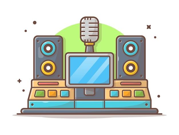 Ikona music studio. nowoczesne studio nagrań z głośnikiem, mikrofon biały na białym tle