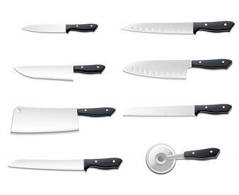 Ikona na białym tle realistyczne noże zestaw z ostrymi ostrzami do pizzy mięso chleb ilustracji wektorowych ryb