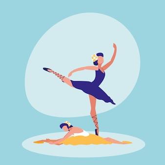 Ikona na białym tle balet tancerzy