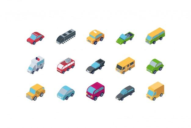 Ikona na białym tle izometryczny samochodów scenografia