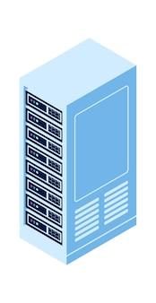 Ikona na białym tle izometryczny wektor szafy serwerowej, sprzęt do przetwarzania w chmurze i przechowywania informacji