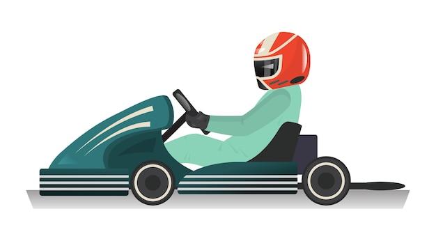 Ikona na białym tle karting sportowca