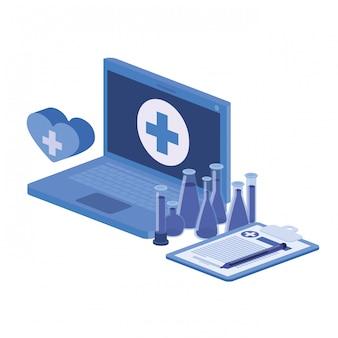 Ikona na białym tle laptopa i instrumentów laboratoryjnych