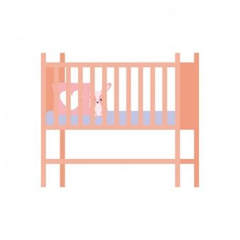 Ikona na białym tle łóżeczko dziecięce lub łóżeczko dziecięce