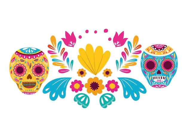 Ikona na białym tle meksykańskiej czaszki