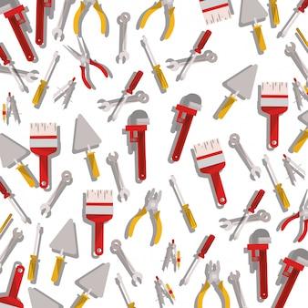 Ikona na białym tle narzędzia budowlane wzór