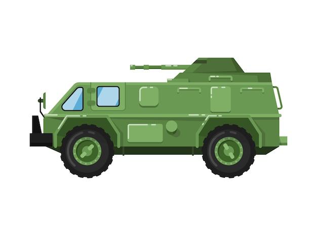 Ikona na białym tle nowoczesnej armii ciężarówki