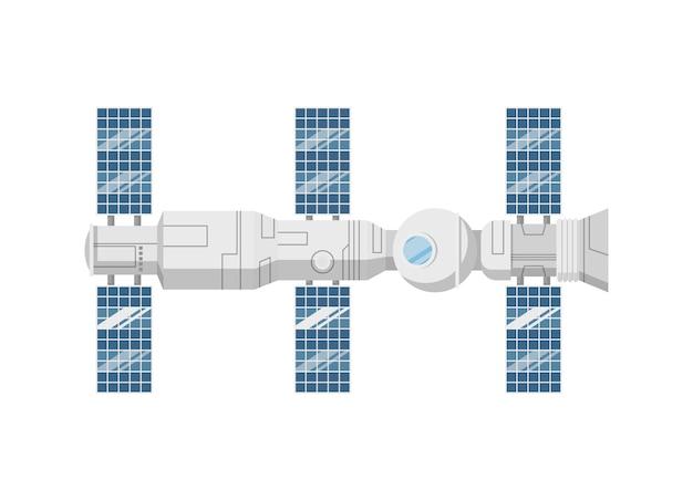 Ikona na białym tle nowoczesny orbitalnej stacji kosmicznej