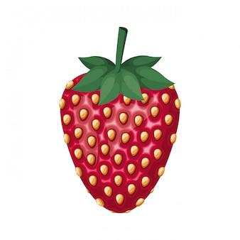 Ikona na białym tle owoce truskawki