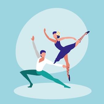Ikona na białym tle para tancerzy baletowych