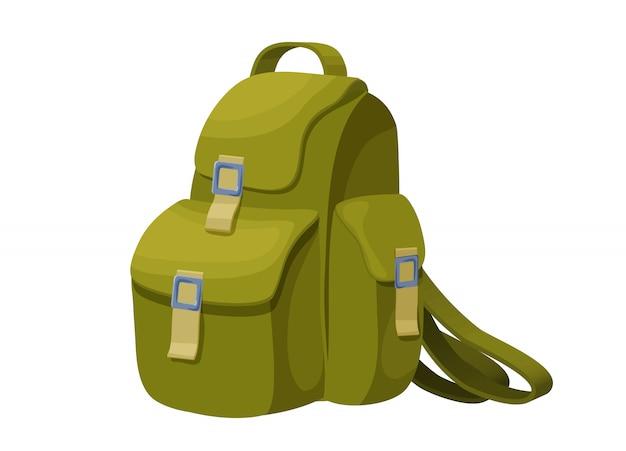 Ikona na białym tle plecak w stylu cartoon