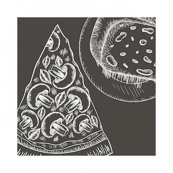 Ikona na białym tle pyszne włoskiej pizzy