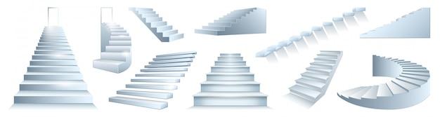 Ikona na białym tle realistyczne zestaw schodów. realistyczne zestaw ikon schody. ilustracja schody na białym tle.